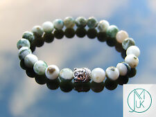 Buddha Tree Agate Natural Gemstone Bracelet 7-8'' Elasticated Healing Stone