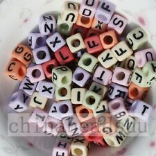 50Pcs Multicolor Acrylic Cube Alphabet Letter Spacer Charms Beads Jewelry DIY