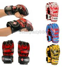 New PU Leather Boxing Gloves Half Finger Mitts For Grappling Sparring UFC MMA