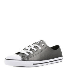 Womens Converse All Star Dainty Metallic Leather Black White Trainers Size