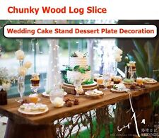 Wood Log Slice Outdoor Rustic Wedding Cake Stand Dessert Plate Table Decor