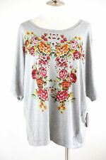 French Blue Woman's Plus Knit Short Sleeve Top Shirt Gray Roses Embellished NWT