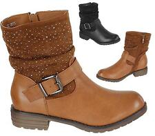 WOMENS CHUNKY CLEATED SOLE ANKLE BOOTS BLOCK HEEL ZIP BIKER LADIES SHOES SIZE