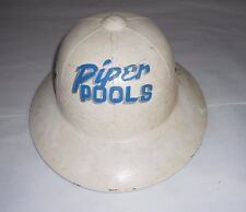 "Vintage Fiberglass Hard Hat Full Wide Brim With Original ""Piper Pools"" Graphic"