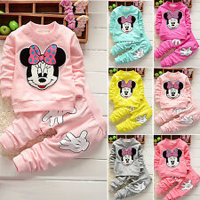 Baby Girls Minnie Casual Hoodie Long Tops + Pants 2PCs Toddle Clothes Outfits