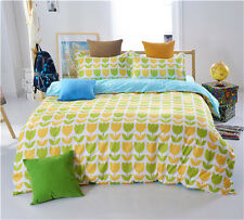 Yellow Tulip Home Twin Queen King Bed Set Pillowcase Quilt Duvet Cover Ous