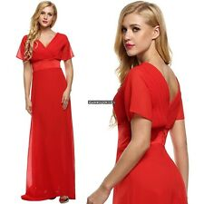 Lady VNeck Short Sleeve Tunic Full Gown Chiffon Floor-length Party Evening Dress