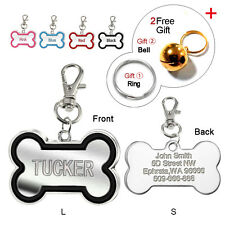 Custom Dog Tags Engraved Cat Pet ID Tags Bone Shape Personlized Name FREE Bell