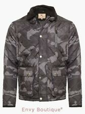 BRAVE SOUL MENS QUILTED ZIP CAMOUFLAGE MILITARY ARMY JACKET COAT S-XL