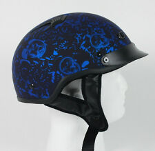 Matte Blue Skull  DOT Vented Biker Bone Shorty Half Motorcycle Helmet S M L XL +