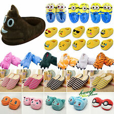 Emoji Pokemon Winter Warm Anti Skid Slippers Women/Men Indoor Home Plush Shoes
