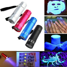 Mini Aluminum UV Ultra Violet 9 LED Flashlight Blacklight Torches Light AAA Lamp
