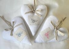 Vintage French Linen Heart with PEONY & SAGE BEE Pink Blue Charcoal