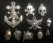 Charms Skull Charm Skelton Charm Antique Silver Charm Pirate Connector