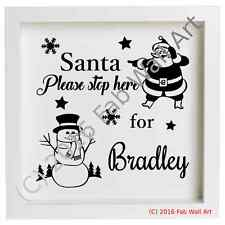 Personalized Santa Please Stop Here Christmas Box Frame Vinyl Decal Sticker