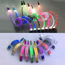 1m Retractable LED Light Luminous Micro USB Fast Data Sync Charger Cable Line