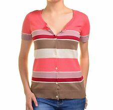 Ann Taylor Striped Cardigan Sweater Lightweight Scoop Neck Top Short Sleeve Pink