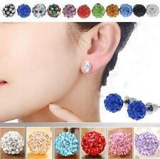 Fashion Women Austria Crystal Charming Pave Disco Clay Ball Beads Ear Stud 10mm