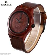 BEWELL Male Quartz Watch Imitation Wood Waves Grain Leather Strap Wristwatch