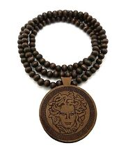 "MENS HIP HOP MEDUSA VARIOUS WOOD PENDANT & 36"" WOODEN BALL CHAIN NECKLACE NG005"