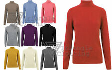 Ladies Jumper Knitted Ribbed Polo Neck Stretch Top Pullover Winter Warmer Cozy