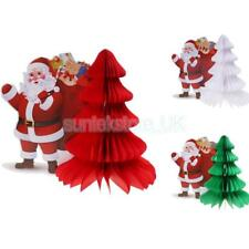 Honeycomb Paper Decorations Tissue Paper Vintage Christmas Tree Santa Claus 12""