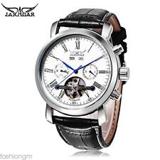 Male Auto Mechanical Watch Year Date Day  Genuine Leather Strap Wristwatch