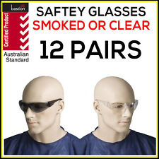 Safety Glasses 12 PAIRS Eye Protection Clear Smoke Lens Industrial ASNZS1337 UV