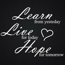 WALL QUOTES LEARN LIVE HOPE WALL DECAL STICKERS  KITCHEN BEDROOM ART QUOTE