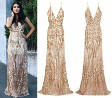 CELEB SEXY GOLD NUDE SEQUIN SHEER MESH SLIT MAXI FISHTAIL PARTY PROM DRESS 6-16