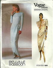 Vogue 1884 Bellville Sassoon Pattern Side Draped Evening Gown With Sleeves Uncut