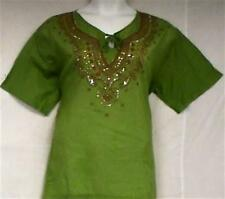 "Cotton Blouse Top Embroidered Blouse Lady Shirt Green Brown L= 44"" to 46"" around"