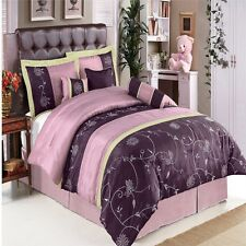 7pc Grand Park Purple Bed in a Bag Comforter Set with Bonus Pillows AND Shams