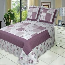 Luxury Ventura Purple Oversized Microfiber Coverlet Quilt Set AND Pillow Shams