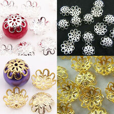 Wholesale 200PCS Gold /Silver Plated Flower Bead Caps Jewelry Finding Craft 10MM