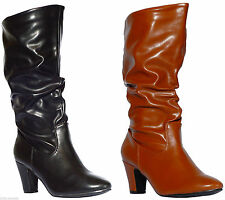 Womens Ladies Winter Mid Heel Boots Truffle Knee Ankle Calf Slouch Ruched Riding