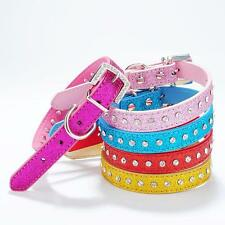 Puppy Pet Cat Dog Cute Rhinestone Buckle Neck Collar PU Leather Strap Adjustable