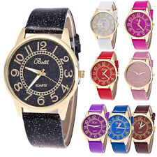 Fashion Women Watch Stainless Steel Leather Analog Quartz Girls Dial Wrist Watch