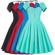 Women's Vintage 1950s Retro 60S Housewife Swing Pinup Rock Party Prom Dress S-XL