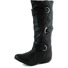Women's Faux Leather Wrapped Decor Rounded Toe Casual Mid Length Boots