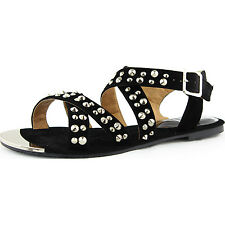 Women's Casual Comfortable Gladiator Studded Strappy Flat Sandal Shoe