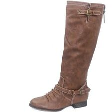 Women's Knee High Riding Combat Boot Adjustable Strap and Small Heel