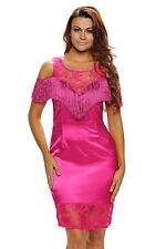 Women Fringed Cold Shoulder Rosy Cocktail Bodycon Dress Stage Dance Brief Cute