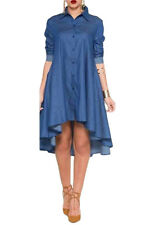 Women Denim Collared Shirt Long Sleeved Midi Dress High Low Stage Dance Cute