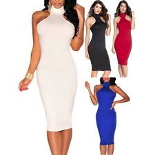 Women Mock Neck Key-Hole Back Dress Backless Stage Dance Brief Club Sexy Summer