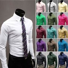 Cozy Mens Stylish Slim Fit Casual Shirts Long Sleeve Dress Shirts Men Shirts e