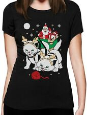 Cats Santa Ride Kittens Funny Ugly Christmas Women T-Shirt Gift