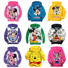 Boys Girls Cartoon Mickey Minnie Mouse Print Hoodies Kids Hooded Sweatshirt Coat