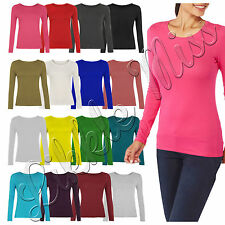 Womens Basic Round Neck Ladies Plus Size Stretch Long Sleeve Shirt Vest Tee Top