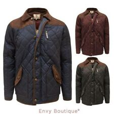 Brave Soul Mens Quilted Zip Button Corduroy Patched Jacket Coat Size S M L XL